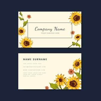 Maquetas de tarjetas de visita con diseño de girasol