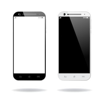 Maquetas de teléfonos inteligentes en blanco y negro