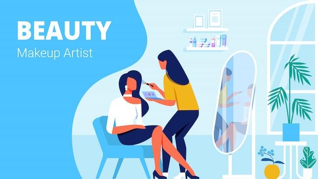 Maquillador de belleza y cliente en salón de belleza.