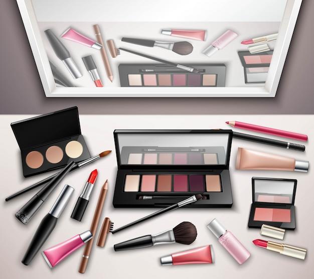 Maquillaje accesorios espacio de trabajo