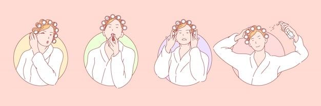 Maquillaje, belleza, cosmetología set ilustración