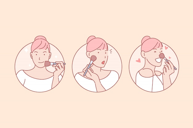 Maquillaje, belleza, entrenamiento, blog, en línea, set