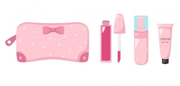 Maquillaje bolso con cosmeticos, ilustracion.