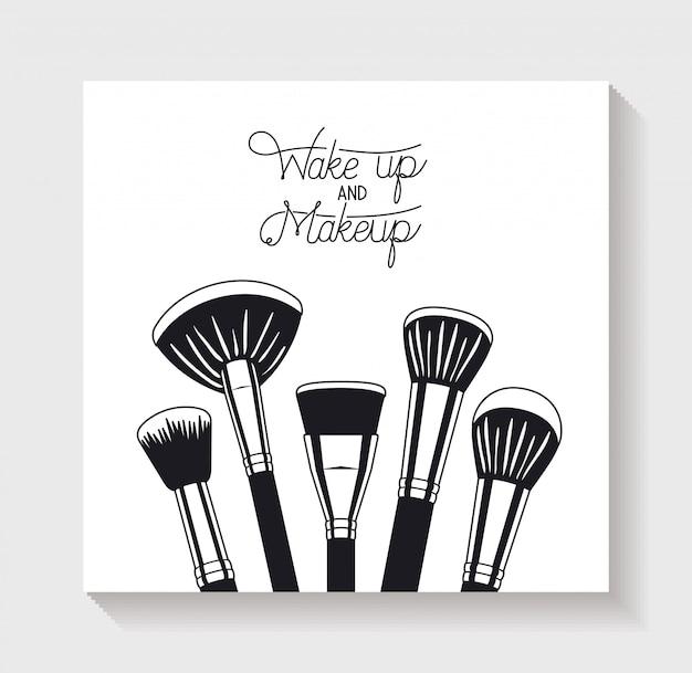 Maquillaje cepillos accesorios iconos