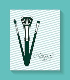 Maquillaje cepillos accesorios en tarjeta.