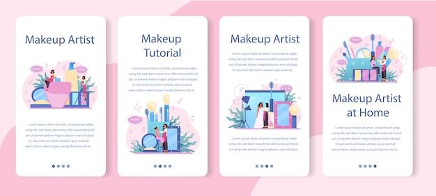 Maquillaje conjunto de banner de aplicaciones móviles de concepto de artista. mujer haciendo un procedimiento de belleza, aplicando cosméticos en la cara. visagiste maquillando a una modelo con un pincel.
