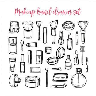 Maquillaje conjunto dibujado a mano. ilustración vintage vector