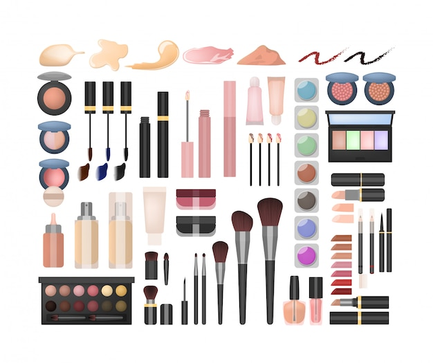 Maquillaje conjunto. todo tipo de productos de belleza y cosméticos.