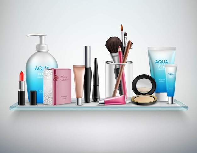Maquillaje cosmética accesorios estante imagen realista