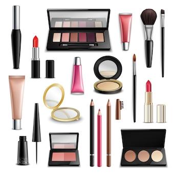 Maquillaje cosmética accesorios realista. colección de artículos.