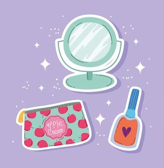 Maquillaje cosméticos moda belleza bolsa de cosméticos espejo y esmalte de uñas producto ilustración vectorial