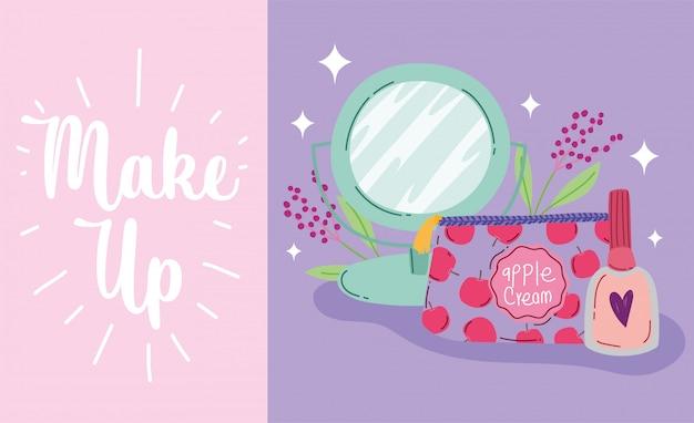 Maquillaje cosméticos producto moda belleza sombra de ojos paleta espejo esmalte de uñas ilustración vectorial