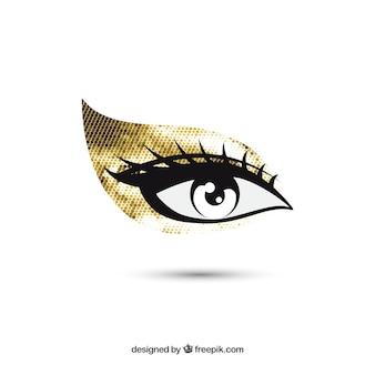 Maquillaje dorado de ojos