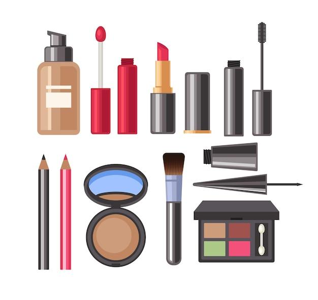 Maquillaje facial conjunto aislado cosmético