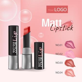 Maquillaje de labios elegante diseño de banner cartel de publicidad de información de cosméticos con realista