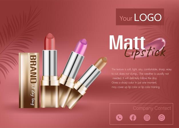 Maquillaje de labios elegante diseño de banner cartel de publicidad de información de cosméticos con