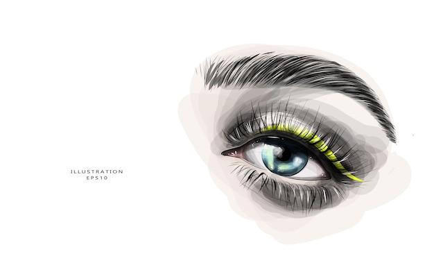 Maquillaje de ojo. hermoso boceto dibujado a mano.