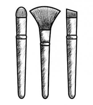 Maquillaje pincel dibujando ícono