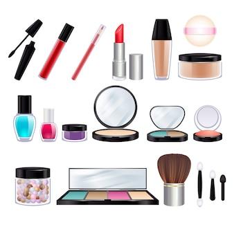 Maquillaje realista iconos conjunto.