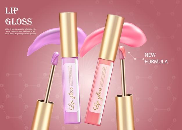 Maquillajes de diseño de pintalabios rosa y morado.