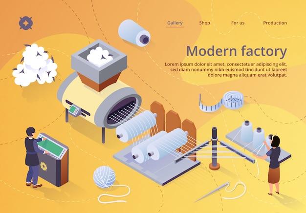 Máquina automatizada para la producción de hilados, fábrica