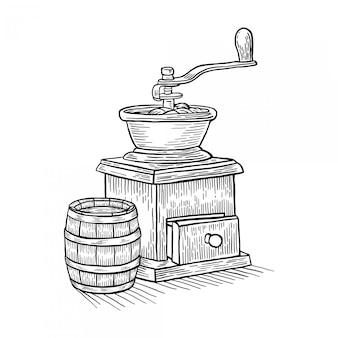Máquina de café dibujado a mano grabado