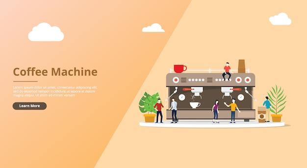 Máquina de café para la plantilla de sitio web con personas