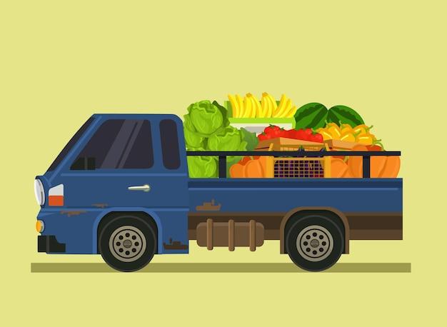 Máquina de coche llena de frutas verduras. granja agricultura horario de verano aislado ilustración plana de dibujos animados