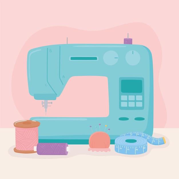 Máquina de coser carretes de hilo y herramientas de cinta métrica ilustración