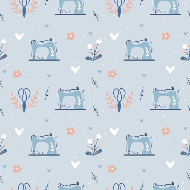 Máquina de coser y vestido de moda de patrones sin fisuras