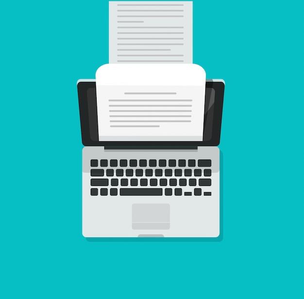 Máquina de escribir de computadora portátil con documento de texto de contenido escrito largo