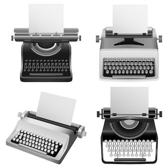 Máquina de escribir vieja maqueta conjunto