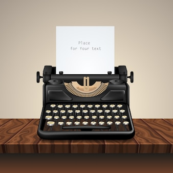 Máquina de escribir vintage negra sobre mesa de madera