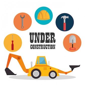 Máquina excavadora con icono de construcción