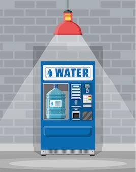 Máquina expendedora automática de agua potable limpia. botella grande de plástico con agua pura.