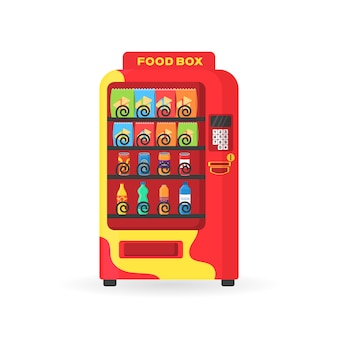 Máquina expendedora con bocadillos de comida rápida, bebidas, nueces, papas fritas, galletas, jugo, sándwich. colorida vista frontal automática con bebida fría, merienda, palomitas de maíz y café en diseño plano. ilustración.