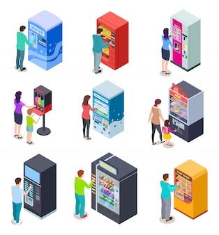 Máquina expendedora isométrica y personas. los clientes compran bocadillos, bebidas gaseosas y boletos en máquinas expendedoras. iconos vectoriales 3d