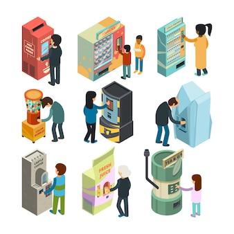 Máquina expendedora isométrica. snack sandwich helado café agua tienda automática personas que compran comida rápida y bebidas imágenes 3d