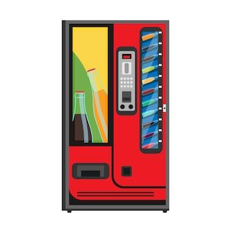 Máquina expendedora de refrescos icono plana. bebida bebida automática comprar botella fría.