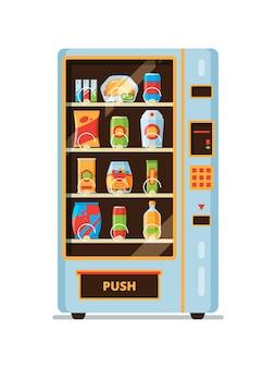 Máquina expendedora. snack crackers comida chatarra bebidas gaseosas saling en la venta automática colección de dibujos animados
