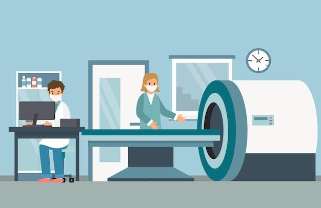 Máquina de formación de imágenes por resonancia magnética. personal médico de dos personajes en máscaras faciales.