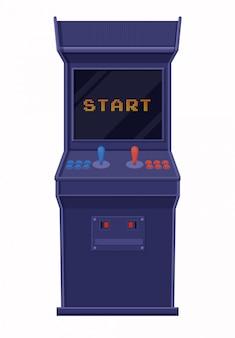 Máquina de juego arcade incluida. consola de juegos retro azul con pantalla negra y comienzo de inscripción.