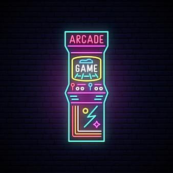 Máquina de juego de arcade letrero de neón.