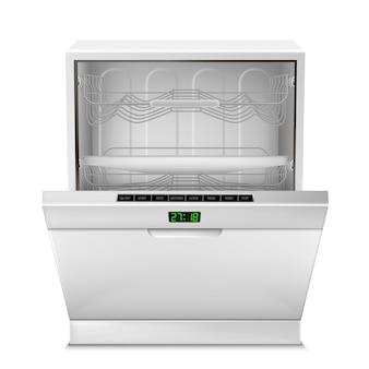 Máquina de lavavajillas vacía realista con pantalla digital