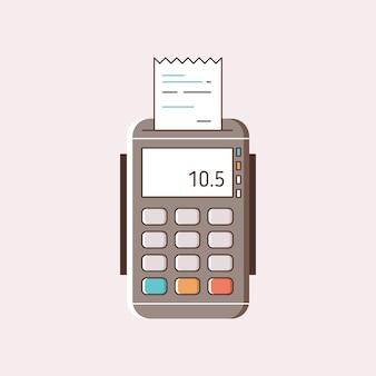Máquina de pago de dibujos animados con ilustración plana de recibo de papel