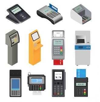 Máquina de pago vector pos banco terminal para tarjeta de crédito para pagar cajero automático sistema de mecanizado para pagar el lector de tarjetas en la tienda