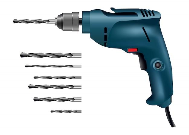 Máquina de perforación con colección de herramientas de perforación de diferentes tamaños.