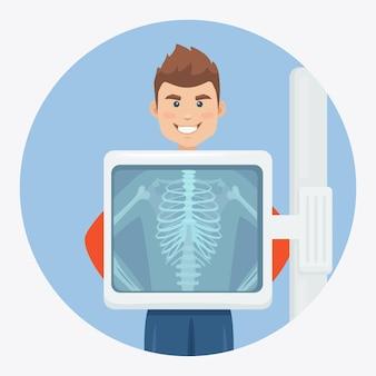 Máquina de rayos x para escanear la ilustración del cuerpo humano.