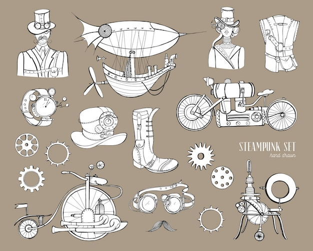 Máquina de recogida de objetos y mecanismos steampunk, ropa, personas y engranajes. conjunto de ilustración de estilo vintage dibujado a mano.
