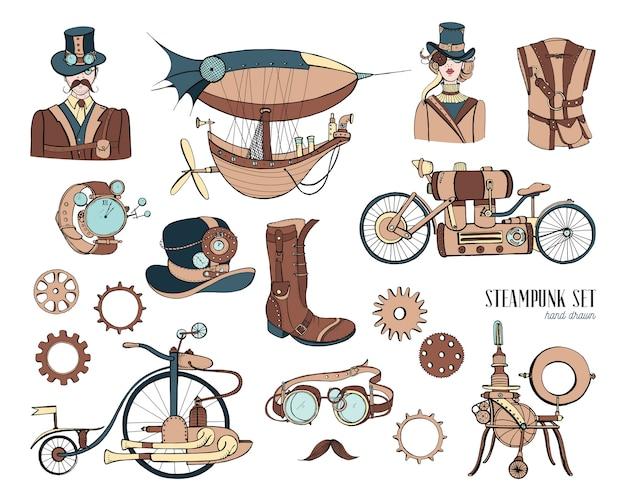 Máquina de recolección de objetos y mecanismos steampunk, ropa, personas y engranajes. conjunto de ilustración de estilo vintage dibujado a mano.